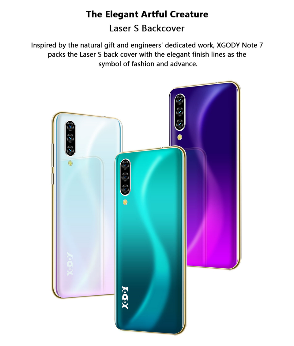 XGODY Note 7 Smartphone Dual Sim Celular 6.26'' Waterdrop Screen Android 9.0 2GB 16GB Quad Core 2800mAh Face ID 3G Mobile Phone