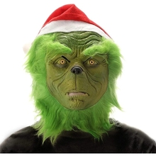 Eraspooky Green Grinch Cosplay Props Mask and Gloves Christmas Costume Santa's Belly Gift Bag