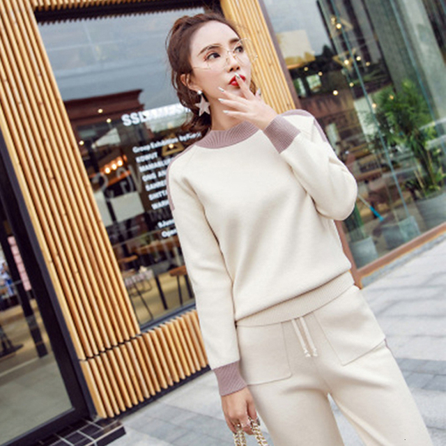CML Sweater Set Women Tracksuit Spring Autumn Knitted Suits 2 Piece Set Warm Turtleneck Sweater Pullovers Wide Legs Pants Color : Apricot, Size : Small