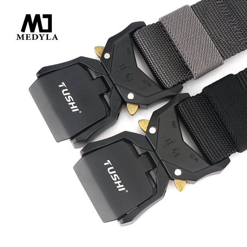 Medyla New Adjustable Nylon Belt Male Army Tactical Belt Molle Military Combat Belts Killing Emergency Survival Straps