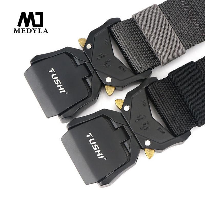 Medyla New Adjustable Nylon Belt Male Army Tactical Belt Molle Military Combat Belts Killing Emergency Survival Straps
