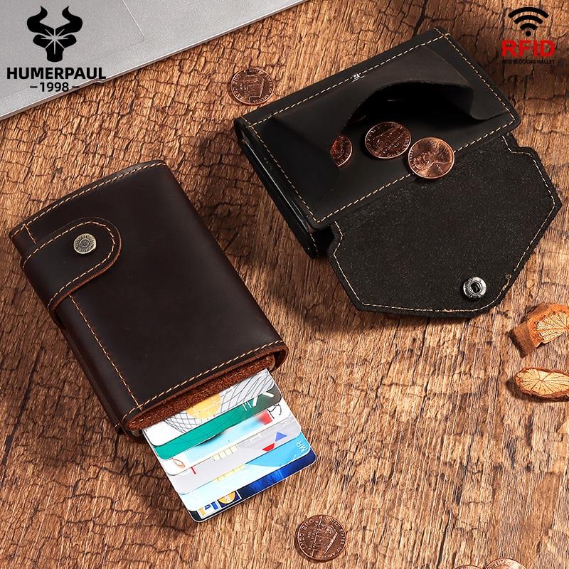 Wallet Men Card-Holder Coin-Purse Aluminium-Box Rfid Blocking Crazy-Horse HUMERPAUL Automatic