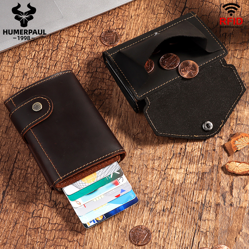 HUMERPAUL RFID Blocking Card Holder Wallet Men Automatic Pop Up ID Card Case Crazy Horse Leather Male Coin Purse Aluminium Box|Card & ID Holders|   - AliExpress
