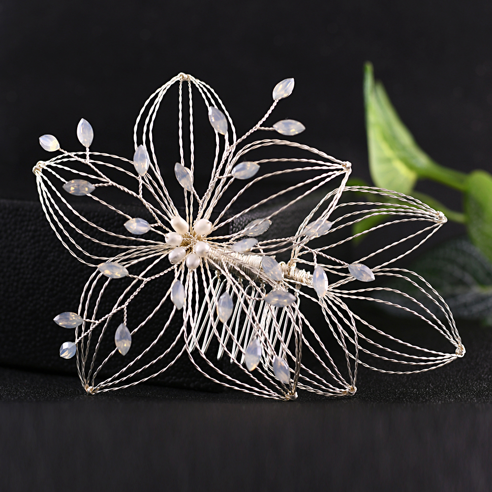 TRiXY H257-S Elegant Wired Rhinestone Wedding Hair Comb Vine Bridal Hair Pins Opal Diamond Bridal Head Pieces Jewelry for Bride