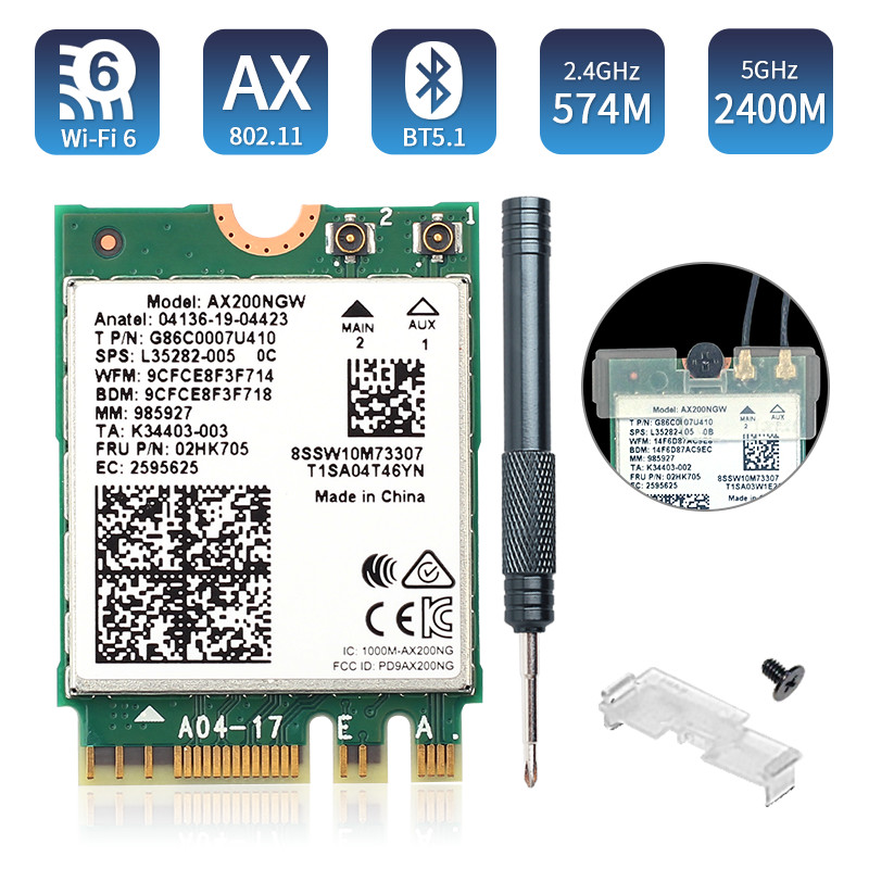 Dual Band 2974Mbps Wireless Wi-Fi 6 AX200NGW NGFF M 2 Wifi Bluetooth 5 1 Network Card 2 4G 5G 802 11ac ax AX200 Wlan