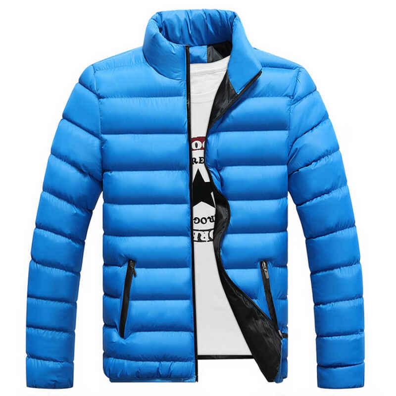 Caliente para hombres Slim Fit algodón acolchado grueso Invierno Caliente Stand Collar ligero prendas de vestir exteriores chaqueta Casual Abrigo acolchado ropa abrigos