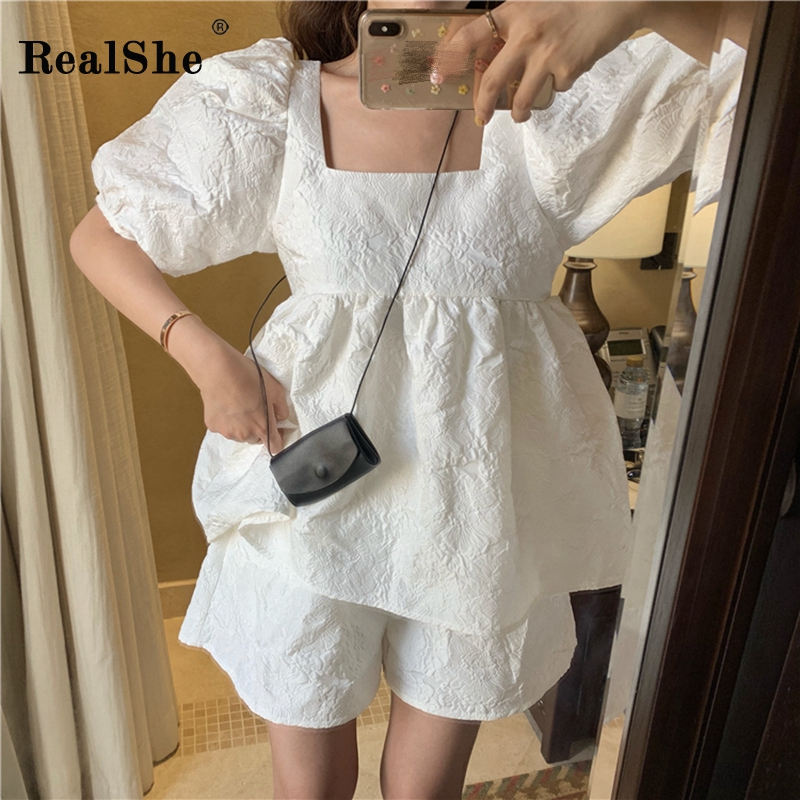 RealShe 2 Piece-Set Women Shirts 2020 Square Collar Half Lantern Sleeve Womens Shirt And Loose Shorts Spring Casual Blouse Women