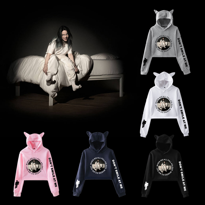 Billie Eilish Fashion Cat Ear Hat Crop Top Women Summer Hoodies Sweatshirt Sexy Hot Kpop Harajuku Oversized Hoodie Plus Size