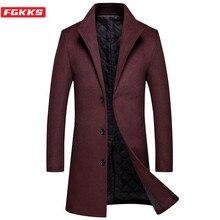 FGKKS New Men's Wool Blend Coat Korean Version Male Long