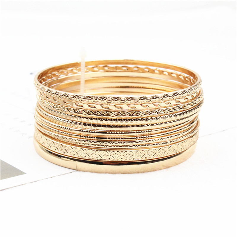 Retro Style Trendy 11Pcs/Sets Gold Silver Bangles Bracelets Set For Women Circle Metal Wire Indian Bangle Jewelry Party Gifts