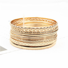 Bangles Bracelets-Set Metal-Wire Gold-Colour Jewelry Retro-Style Women Trendy for Circle