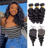VSHOW Loose Wave Bundles With Closure Remy Human Hair Extension 3 Bundles With Closure Brazilian Hair Weave Loose Wave Bundles