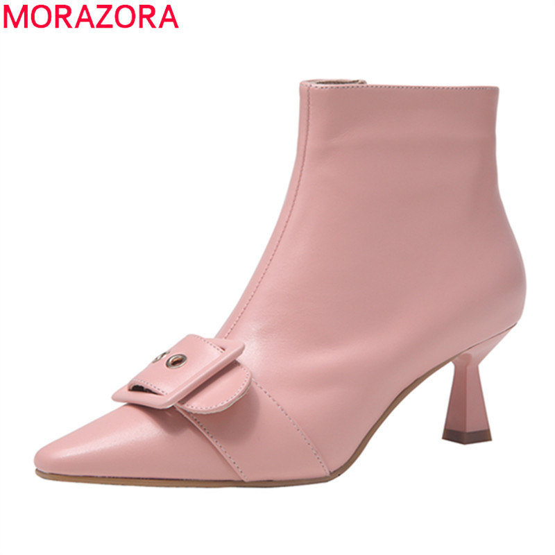 MORAZORA 2020 hot sale genuine leather sweet ankle boots fashion high heels women shoes pointed toe buckle party wedding shoes
