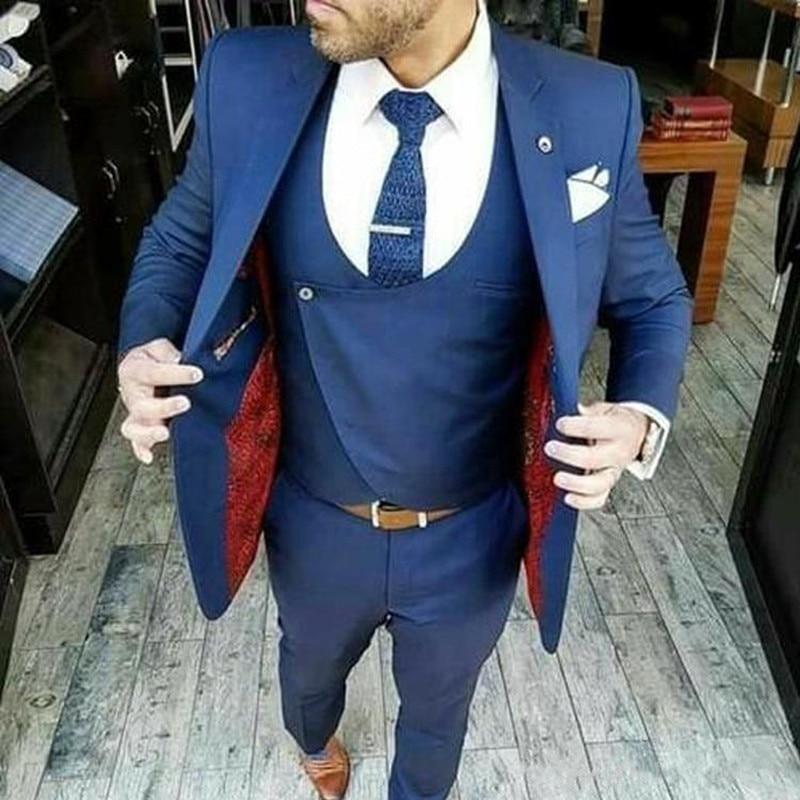 Wedding And Important Occasions / Wedding Dress / Groom Dress Notched Lapel Slim Fit Blazer Three Piece Jacket Pants Vest