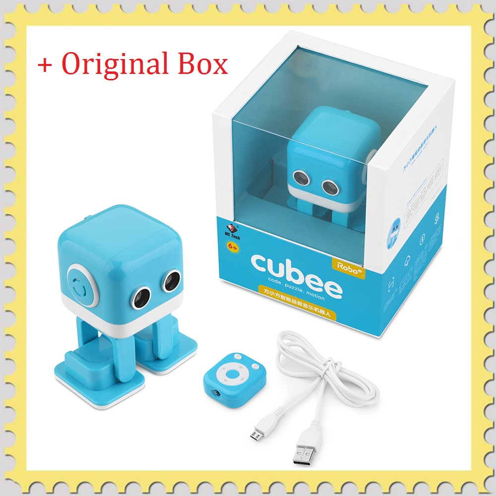 WL Toys Cubee Mini RC Intelligent Robot Boy Smart Bluetooth Speaker Musical Dancing Programming Machine Gesture Control LED Face