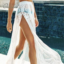 Maxi-Skirt Transparent Long White Women Lace Split Sexy Ordifree Embroidery