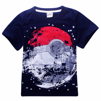 Cheap Sale Children T Shirts Boys POKEMON Ball T Shirt Summer Top Tee Earth Clothing T-shirt for Baby Boy Kids Clothes Outfits 2
