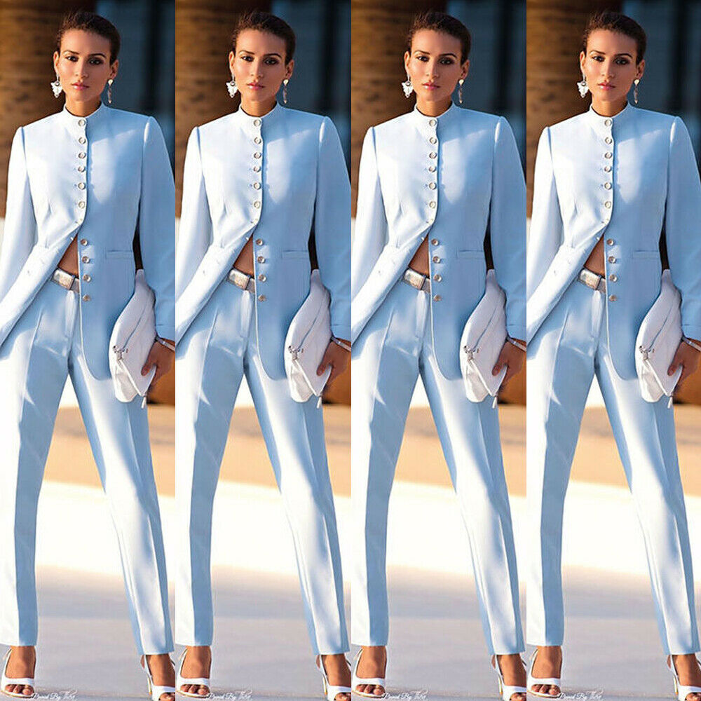 New Fashion Light Blue Womens Business Suits Female Office Uniform Formal Pant Suits For Weddings Ladies Trouser Suit Pant Suits Aliexpress