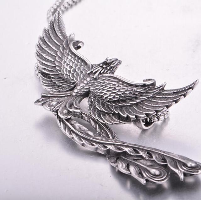 Dominateur Punk acier inoxydable Phoenix pendentif collier gothique Vintage paon pendentif collier Halloween cadeaux de noël