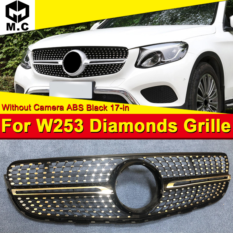 Fits For Mercedes GLC class W253 Front Grille grill Diamond style ABS Silver Without sign GLC250 GLC350 GLC400 look grills 17-in