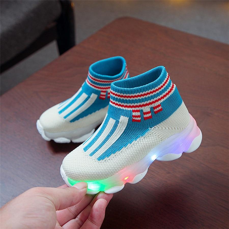 sport shoes kids led luminous running shoes light kids sneakers boy girls football sneakers lights krampon futbol orjinal #40J30 (3)