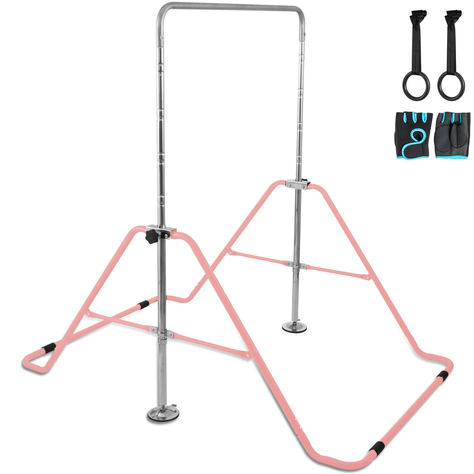 VEVOR Kids Adjustable Gymnastics Horizontal Bar 130LBS Kip Bar Climbing Tower Gym