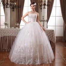 Сделанное на заказ Настоящее фото плюс размер Блестки без бретелек Кружева Свадебные платья дешевые белые невесты платья Vestidos De Novia HS099
