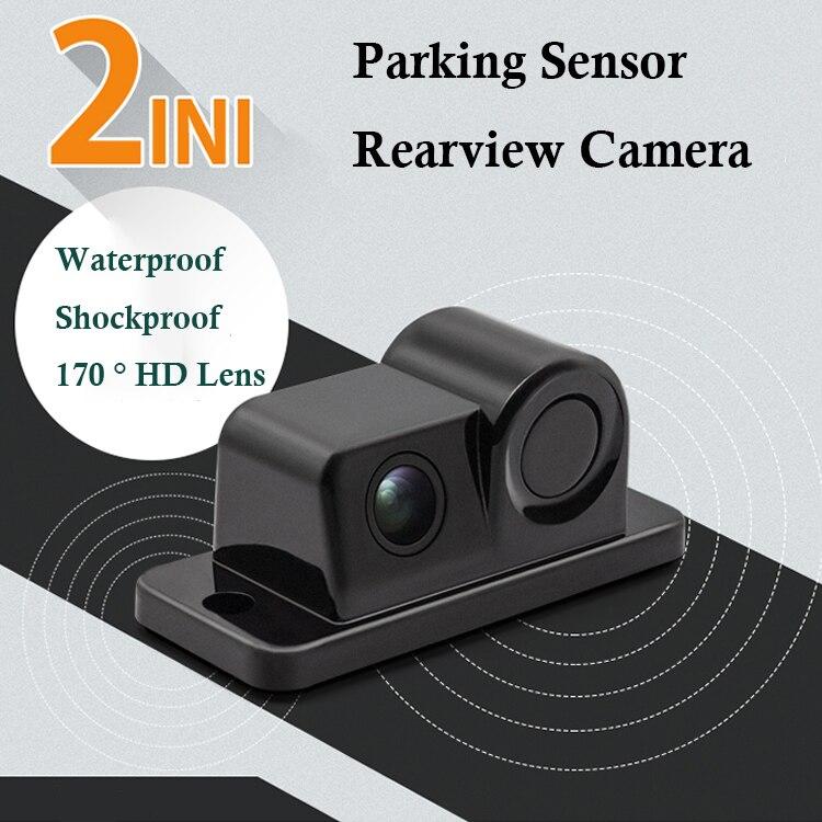 Auto Parktronic 2In1 Design Kamera Parkplatz Sensor Kit Auto Umkehr Rückspiegel Backup Parkplatz Radar 170 Grad Rückansicht Kamera