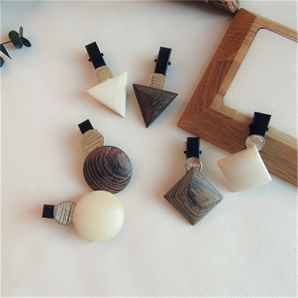 New Korean Fashion Geometric Triangle Shape Wooden Hair Clips Color Hairpins For Women Simple Hair Accessories
