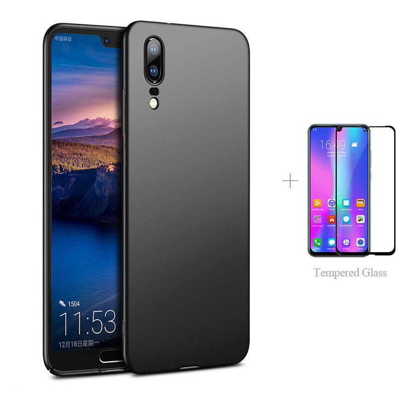 Matte Back Cover Case + Full cover Tempered Glass For Huawei P30 Pro P20 Lite 2019 P Smart 2020 30 Mate 20 X P Smart Protector