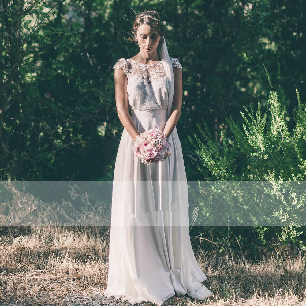 Country Style Rustic Wedding Dress Scoop Lace Short Sleeves Chiffon A Line Open Back Bridal Gowns Robe De Mariee
