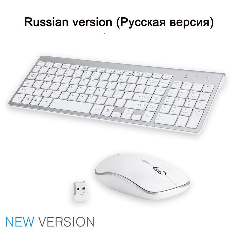 SeenDa 2,4G Беспроводная Бесшумная клавиатура и мышь, мини мультимедийная полноразмерная клавиатура, мышь, комбинированный набор для ноутбука, ноутбука, настольного ПК - Цвет: White Russia version