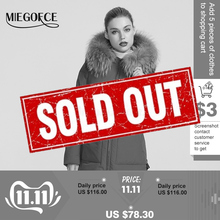 MIEGOFCE 2019 yeni kış koleksiyonu ceket kadın kış Parka ile kürk Hood yama cep kadın ceket farklı sıradışı renk