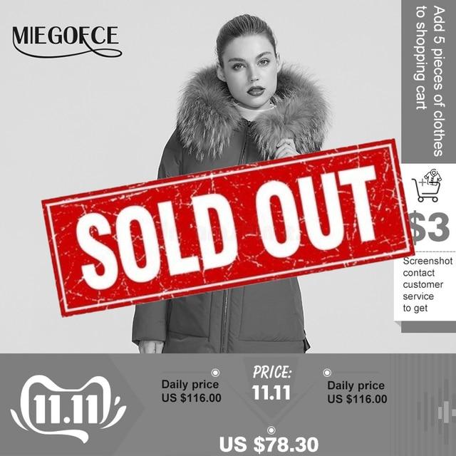 Miegofce 2019 새로운 겨울 컬렉션 자켓 여성 겨울 파카 모피 후드 패치 포켓 여성 코트 다른 특이한 색상
