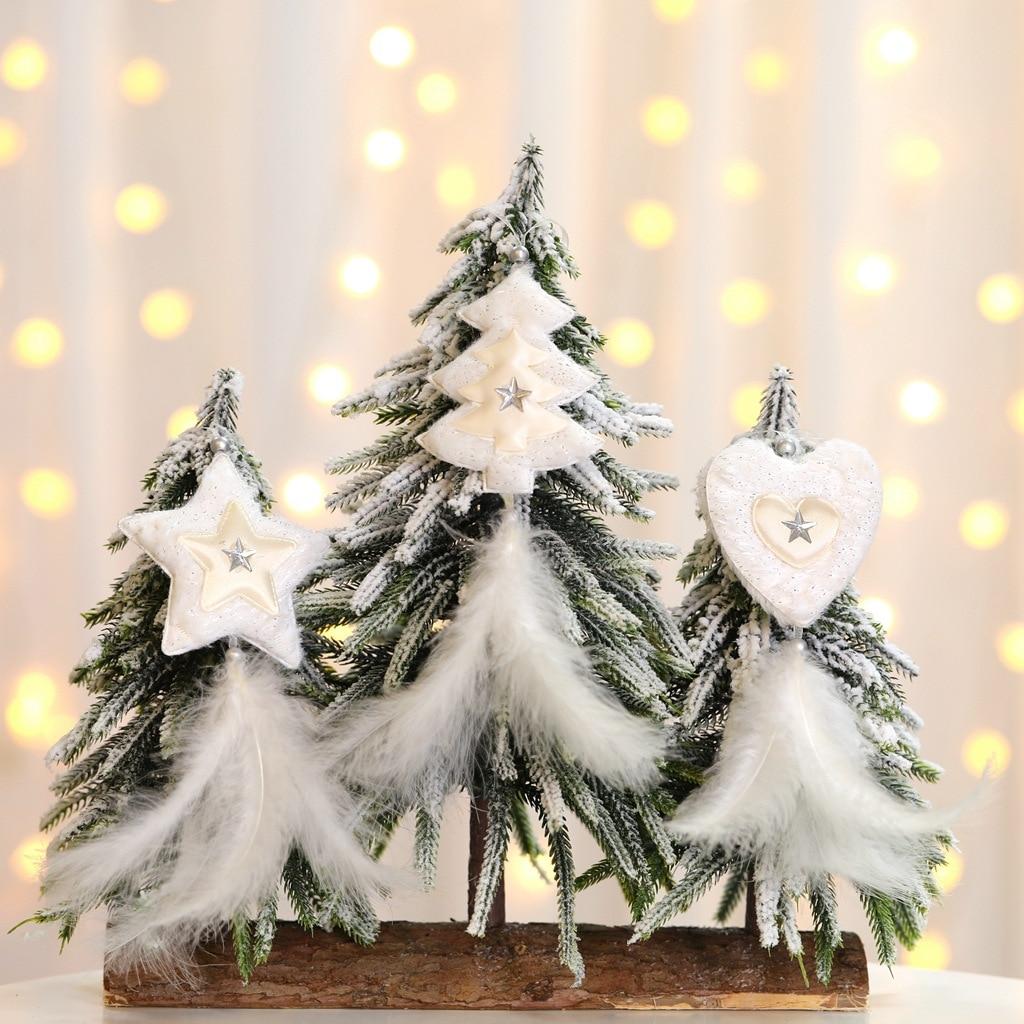 Белые, золотые, серебряные перья, подвеска на рождественскую елку, сердце, звезда, украшение, Рождественское украшение для дома, новый год 2021