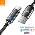 Mcdodo USB кабель type C для samsung Galaxy S10 Plus One Plus QC3.0 Быстрый зарядный телефонный кабель USB C автоматическое отключение зарядного устройства провода