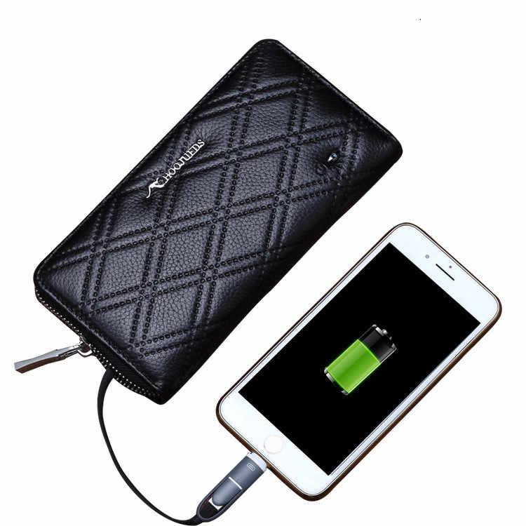 2019 мужской кошелек, натуральная кожа, Bluetooth, анти-потеря, бренд Rfid, клатч, Мужской органайзер, сумка для сотового телефона, Usb зарядка, Длинный кошелек для монет