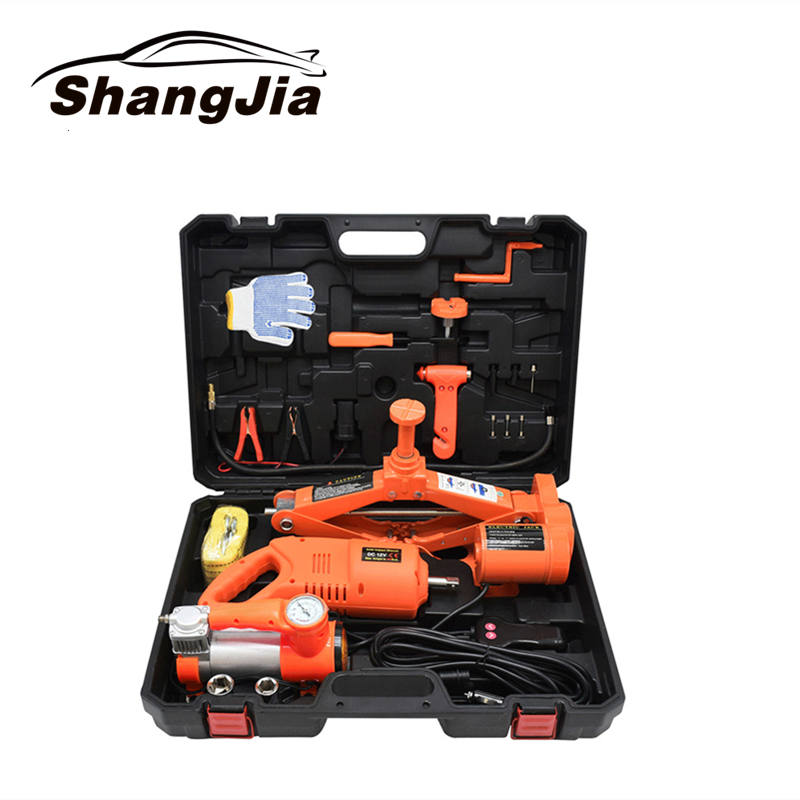 Car Electric Jack 3 Ton 42cm 12V  Lift Scissor Jack Tire Change Lifting Repair Tool Auto 3T With Air Pump Electric Wrench