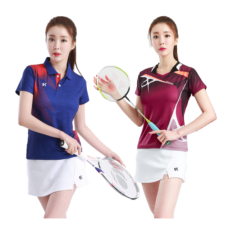 Women Badminton Shirt V Neck Quality Running Top Sport Quick Dry Female Table Tennis T Training Exericises Short Sleeves