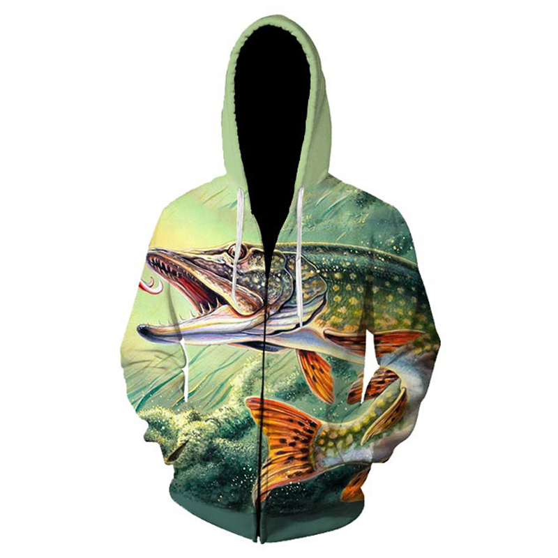 3D Print Animal Fish Grass Carp Pattern Slim Unisex Slim Hooded