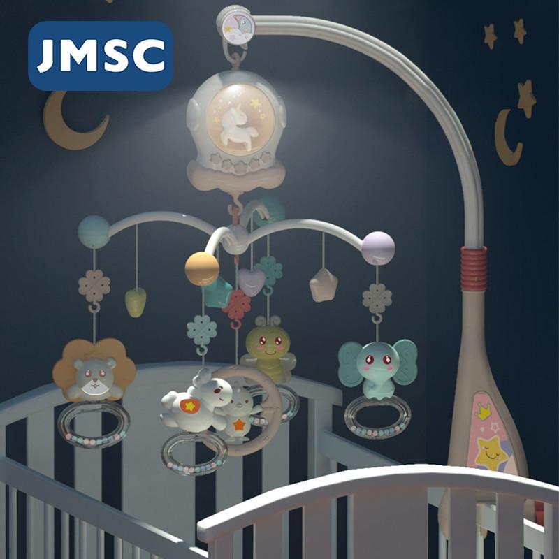 Jmsc bebê berço remoto móveis chocalhos música brinquedos educativos girando cama bell nightlight rotação carrossel berços 0-12m recém-nascidos