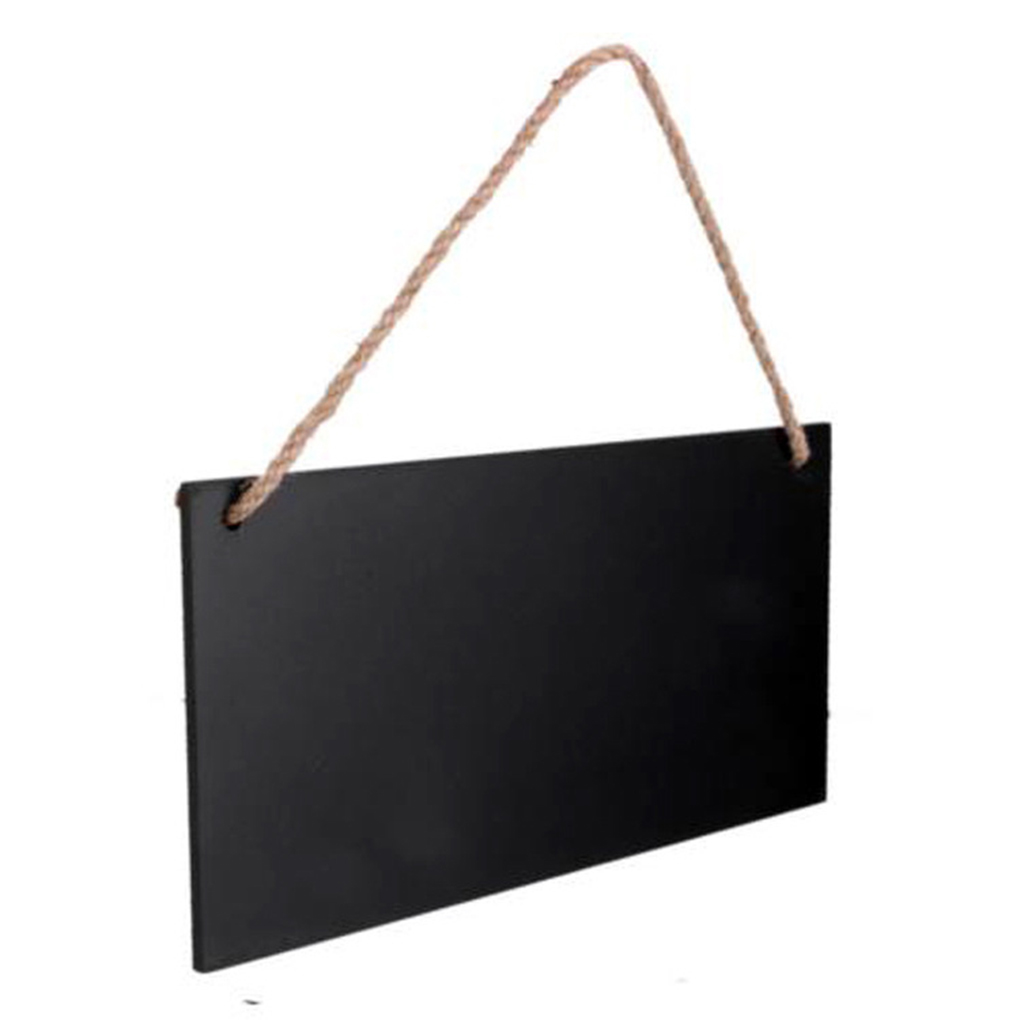 Hanging Rectangle Wooden Blackboards Message Board For Home Kitchen Bar Shop