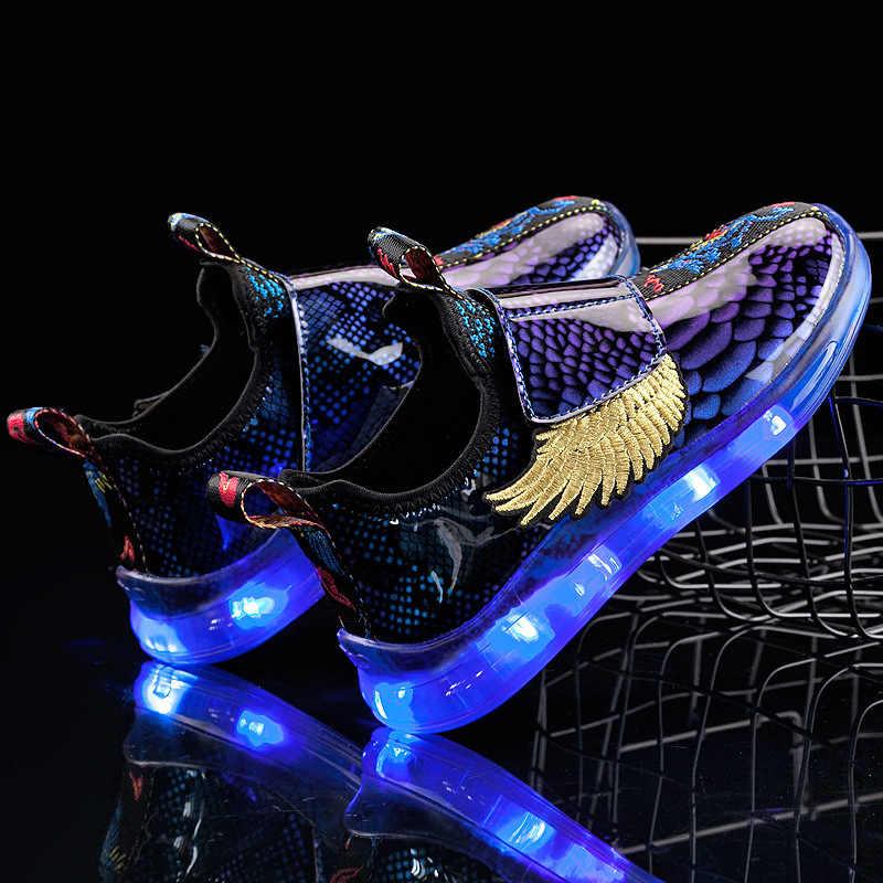 ילדים חדשים כנף אור נעלי LED מנורת נעלי USB תשלום ילד ילדה נעליים