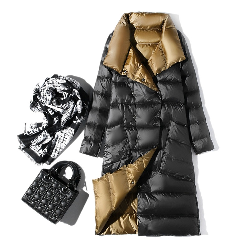 Women Double Sided Down Long Jacket Winter Turtleneck White Duck Down Coat Double Breasted Warm Parkas Snow Outwear Female