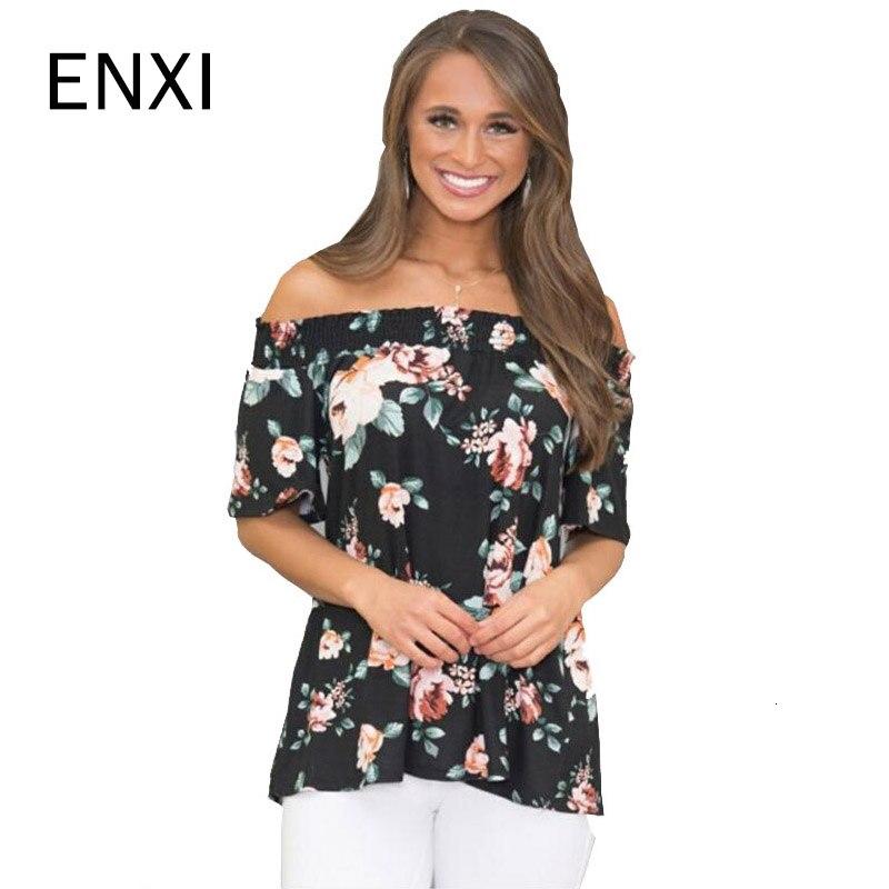ENXI 2019 Summer Chiffon Maternity Tops Floral Print Pregnancy Clothes Fshion Off Shoulder Pregnant Womens Clothing