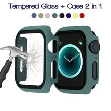 Glass+case For Apple Watch 6 SE 5 4 3 2 1 40MM 44MM 360 edge full screen color bumper cove for iWatch serie 3 2 1 38mm 42mm
