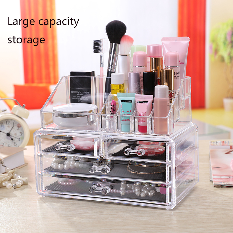 Acrylic transparent Makeup Organizer Storage Detachable Boxes Make Up Organizer For Cosmetics Brush Organizer home Storage|Makeup Organizers| |  - title=