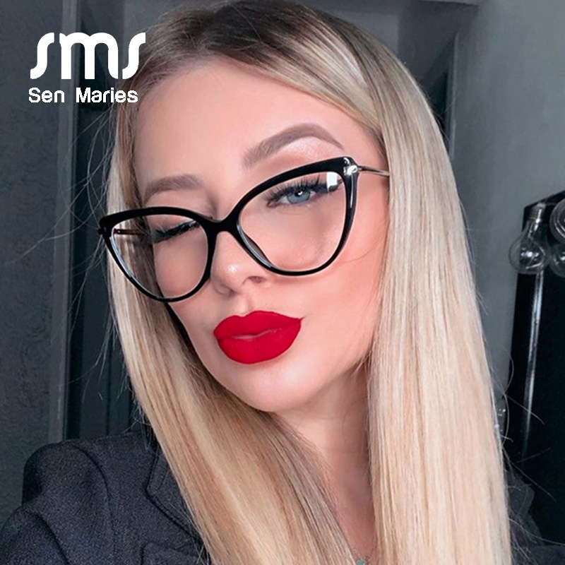 Vintage Transparent Cat Eye Glasses Frames Men Women Plastic Titanium Retro Optical Fashion Computer Eyeglasses Frame Clear