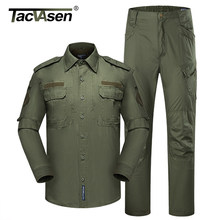 TACVASEN Men's Tactical Uniforms Cargo Jacket and Military Pants Camouflage BDU Army Combat Suit Airsoft Assault Clothing Sets(China)