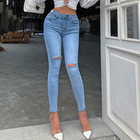 Okuohao Hole High Waist Hip Hip Nine Points Jeans Women 2020 Spring New Style Was Tall and Thin Feet Pencil Pants